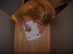 Blick in die Wahlkabine