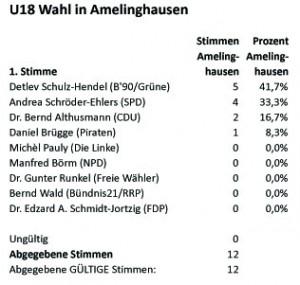Tabelle Erststimmen Amelinghausen