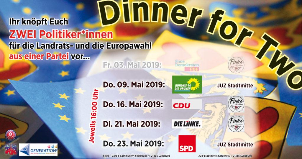 """Flyer für die gesamte Veranstaltungsreihe """"Dinner4Two"""", jetzt aktualisiert mit ALLEN Veranstaltungen!"""