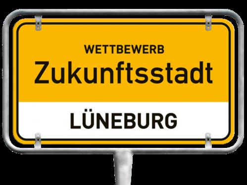 Ein Bild eines Ortsschildes als Logo des Wettbewerbs Zukunftsstadt Lüneburg